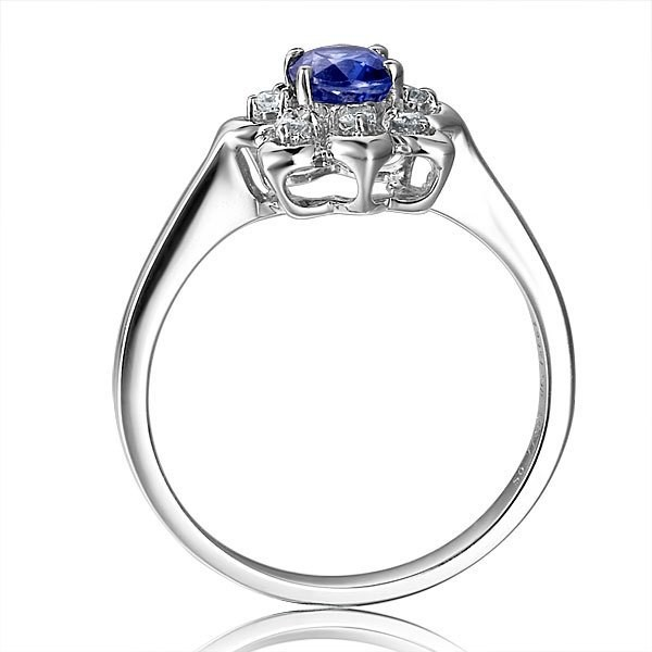 Flower Shape Sapphire and Diamond Engagement Ring JeenJewels