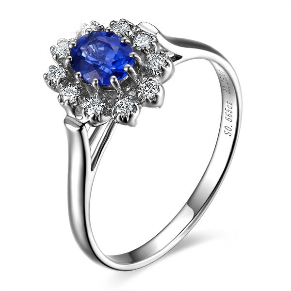 with diamond ring and sapphire sidestones engagement