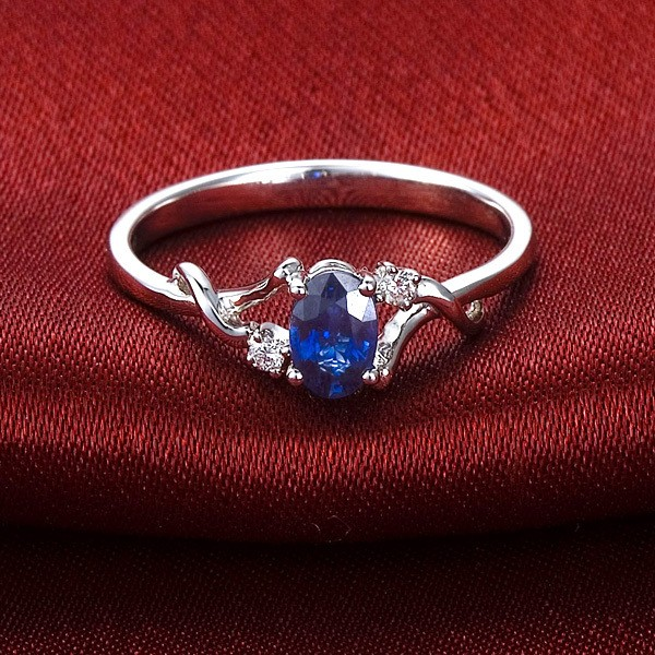 Sapphire And Diamond Engagement Ring On 10k White Gold