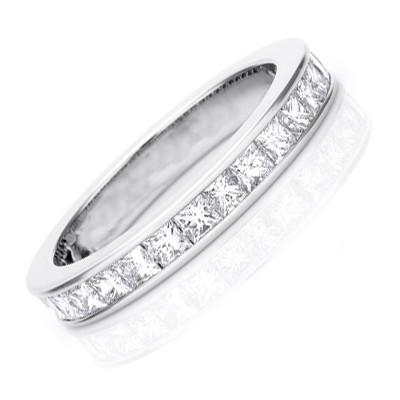 2 Carat Princess Cut Eternity Diamond Wedding Band