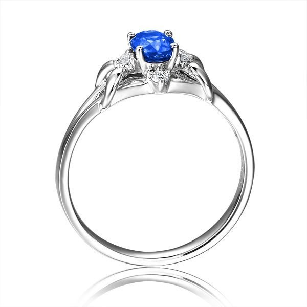 Sapphire And Diamond Engagement Ring On 9ct White Gold