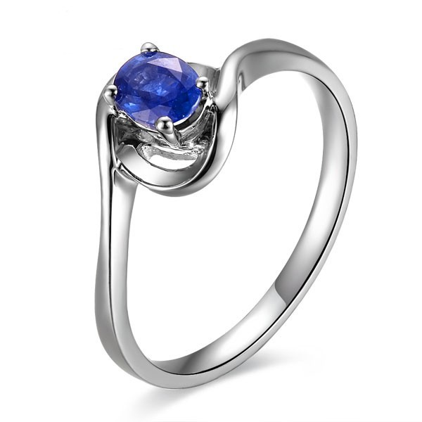 solitaire sapphire engagement ring on 9ct white gold