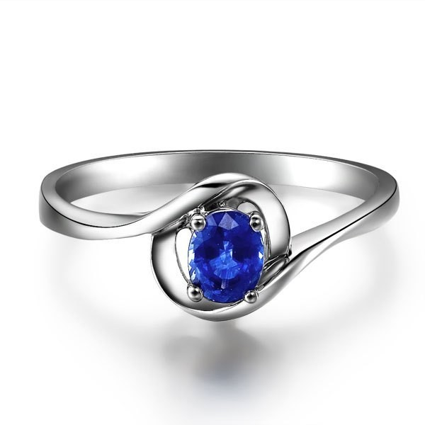 Solitaire Sapphire Engagement Ring on 9ct White Gold JeenJewels