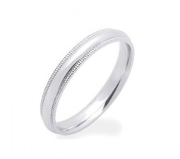3mm MillGrain Finish Comfort Fit Wedding Band on 14k White Gold