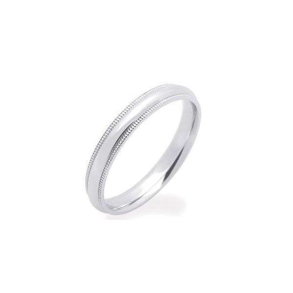 3mm MillGrain Finish Comfort Fit Wedding Band On 14k White Gold