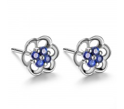 .25 Carat Sapphire Floral Earring on 10k White Gold