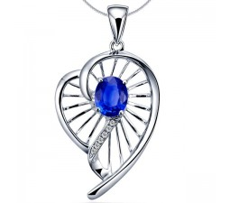 Heart Shape Sapphire and Diamond Pendant