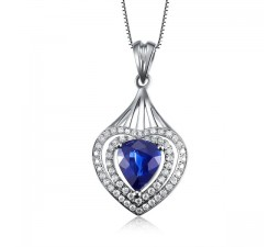 Luxurious Sapphire and Diamond Pendant in Heart Shae