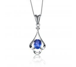 Sapphire and Diamond Pendant on 10k White Gold