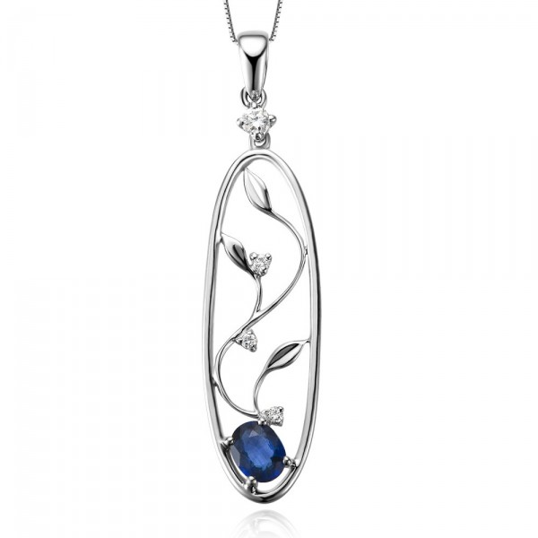 Mythical Flower Sapphire and Diamond Pendant