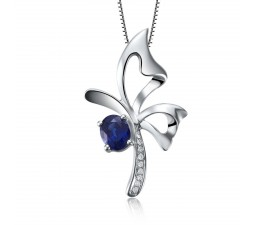 Superb Sapphire and Diamond Pendant on 10k White Gold