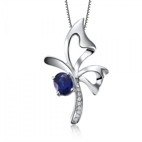 Superb Sapphire and Diamond Pendant on 10k White Gold