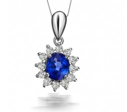 Floral Sapphire and Diamond Pendant on 10k White Gold