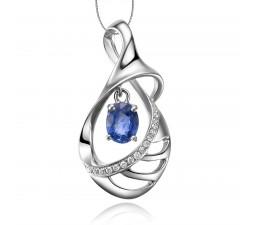 Journey Sapphire and Diamond Pendant on 10k White Gold