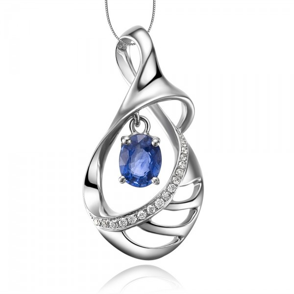Journey sapphire and diamond pendant on 10k white gold jeenjewels journey sapphire and diamond pendant on 10k white gold aloadofball Gallery