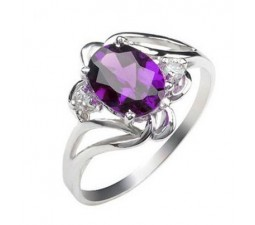 1 Carat Real Amethyst Engagement Ring on Silver