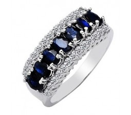 1.5 Carat Real Sapphire Wedding Band on Silver
