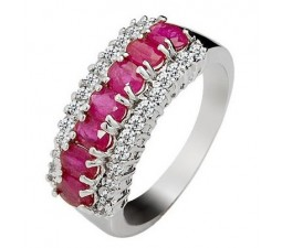1.60 Carat Real Ruby Wedding Band on Silver