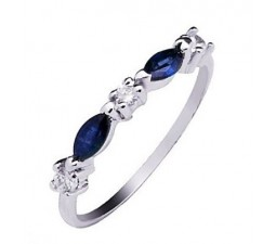 1/2 Carat Real Sapphire Engagement Ring Band on Silver