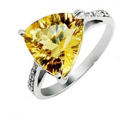 4 Carat Citrine Gemstone Engagement Ring on Silver