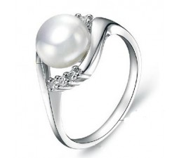 8mm Pearl Gemstone Engagement Ring on Silver