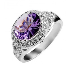 3.50 Carat Amethyst Gemstone Engagement Ring on Silver