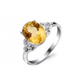 1.50 Carat Citrine Gemstone Engagement Ring on Silver