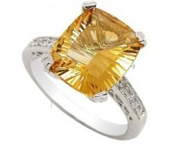 5 Carat Citrine Gemstone Engagement Ring on Silver