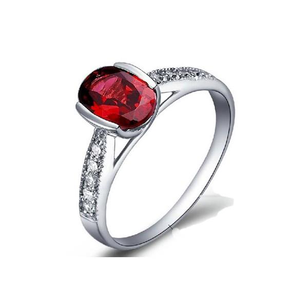 1 carat garnet gemstone engagement ring on silver jeenjewels
