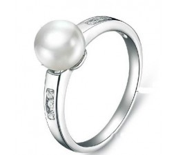 10 mm Pearl Gemstone Engagement Ring on Silver