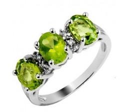 2.5 Carat Peridot Gemstone Engagement Ring on Silver