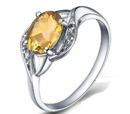 1 Carat Citrine Gemstone Engagement Ring on Silver