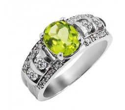 2 Carat Peridot Gemstone Engagement Ring on Silver