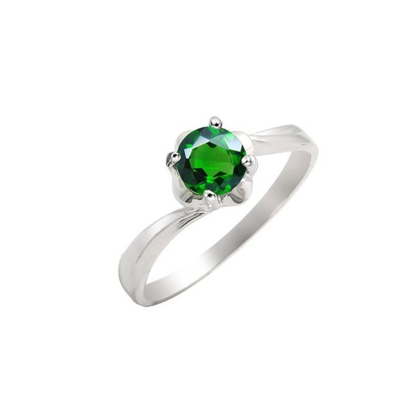 5 Carat Emerald Gemstone Engagement Ring on Silver JeenJewels