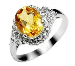 2.4 Carat Citrine Gemstone Engagement Ring on Silver