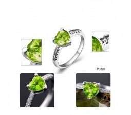 1.25 Carat Peridot Gemstone Engagement Ring on Silver