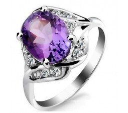 2.4 Carat Amethyst Gemstone Engagement Ring on Silver