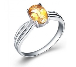 1.5 Carat Citrine Gemstone Engagement Ring on Silver