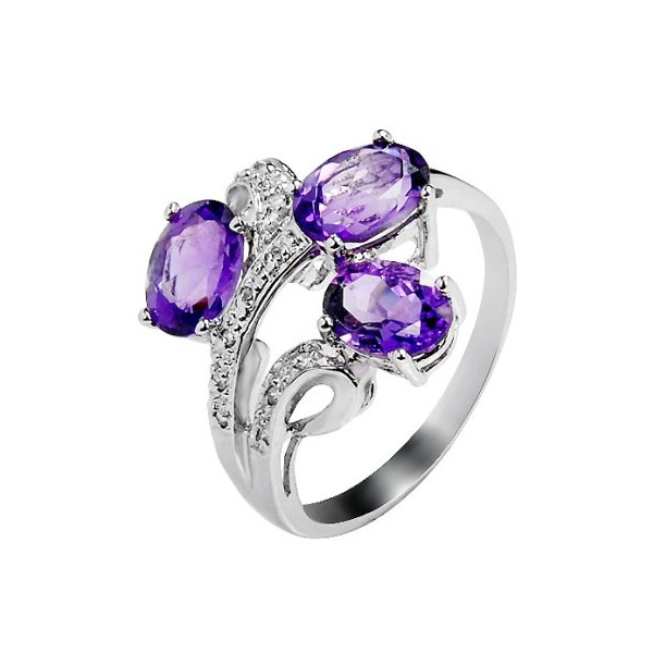 3 Carat Amethyst Gemstone Engagement Ring on Silver JeenJewels