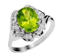 4 Carat Peridot Gemstone Engagement Ring on Silver