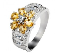 1 Carat Citrine Gemstone Engagement Ring on Silver
