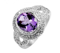 1.75 Carat Amethyst Gemstone Engagement Ring on Silver