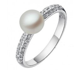 7mm Pearl Gemstone Engagement Ring on Silver