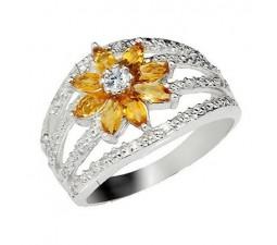 2.5 Carat Citrine Gemstone Engagement Ring on Silver