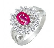 1 Carat Ruby Gemstone Engagement Ring on Silver