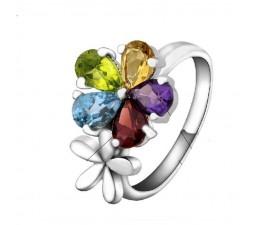 2.5 Carat natural Citrine, Amethyst, Topaz, Garnet, Peridot,  Gemstone Engagement Ring on Silver