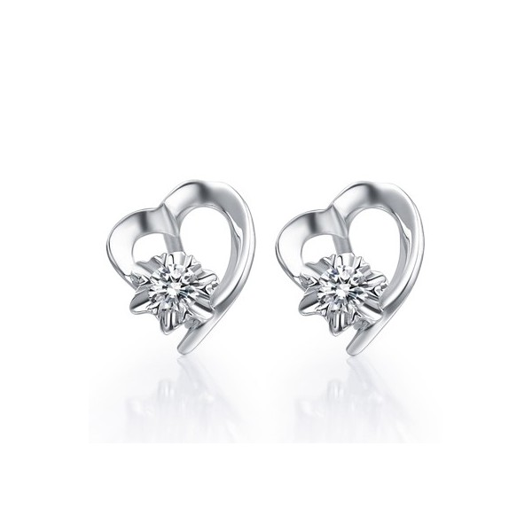 Earrings Heart Shape Diamond On 18k White Gold 1 Carat