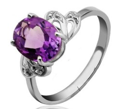 1.7 Carat Amethyst Gemstone Engagement Ring on Silver