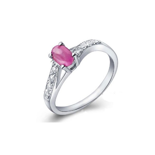 0 5 Carat Ruby Gemstone Engagement Ring on Silver JeenJewels