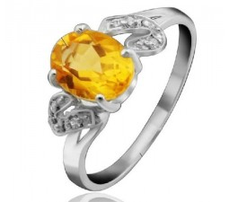 1.2 Carat Citrine Gemstone Engagement Ring on Silver